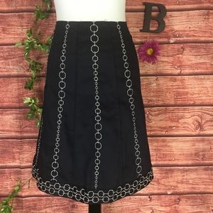 Ann Taylor Skirt size 8 Navy Blue Gold Embroidery